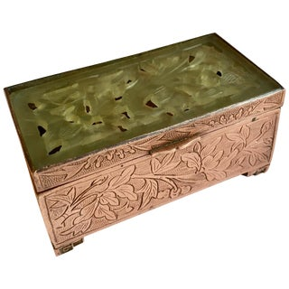 Chinese Brass and Carved Jade Box For Sale