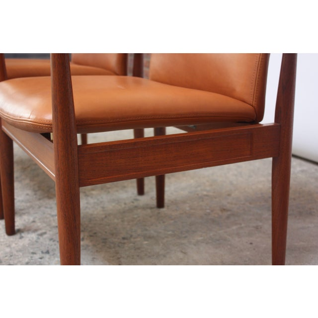 Metal Pair of Finn Juhl Diplomat Armchairs for France & Son in Leather and Teak For Sale - Image 7 of 13