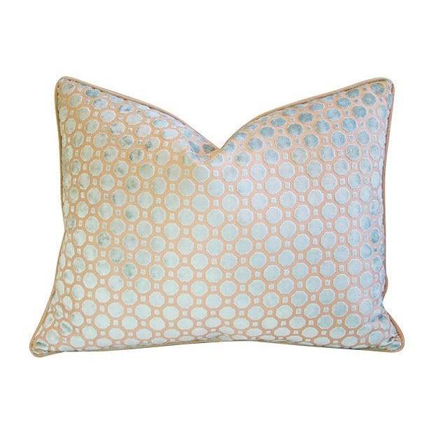 Aqua Blue Velvet Geometric Pillows - Pair - Image 5 of 7