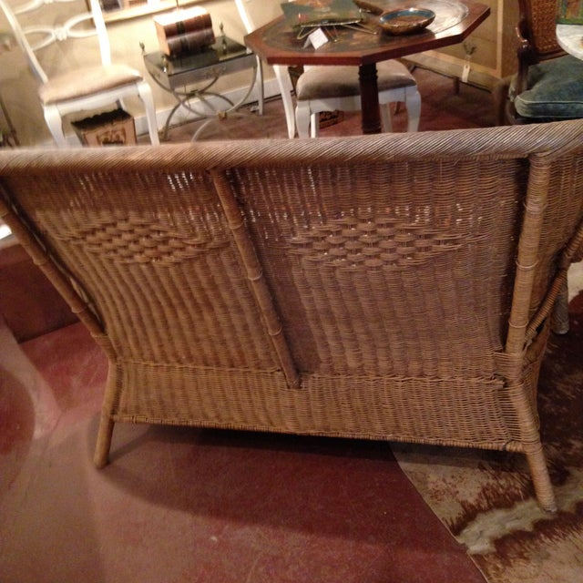 Wicker 20th Century Country Wicker Settee With Groovy Fabric For Sale - Image 7 of 8