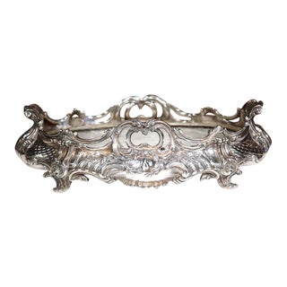 19th Century French Louis XV Oval Silver Plated Jardinière With Zinc Liner
