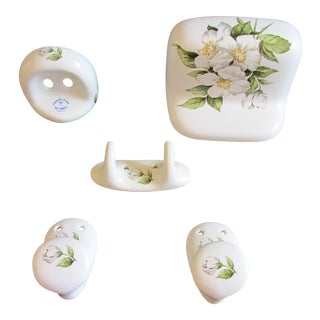 Vintage Porcelaine De Paris Bathroom Accessory Set - 5 Pc. For Sale