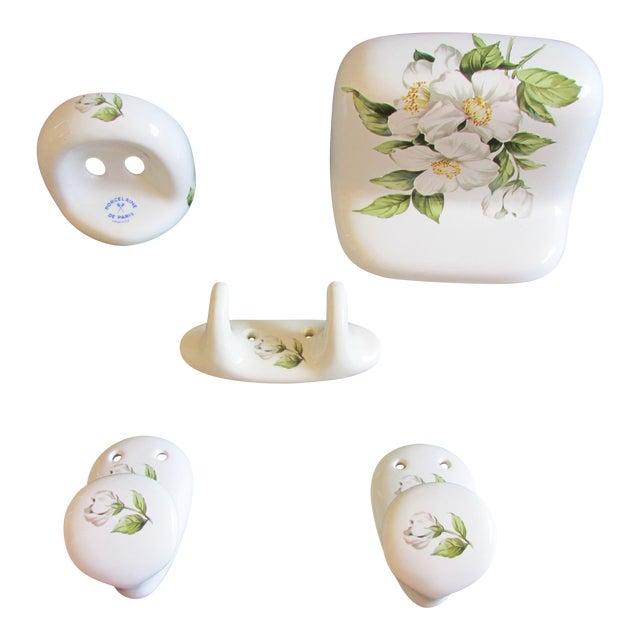 Vintage Porcelaine De Paris Bathroom Accessory Set 5 Piece