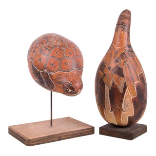Leoncio Veli Peruvian Gourd Sculptures - A Pair
