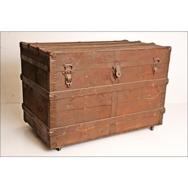 Vintage Brown Wood Steamer Trunk - Image 2 of 11