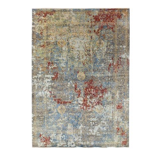 Modern Gray Handmade Geometric Abstract Expressionist Wool and Silk Rug For Sale
