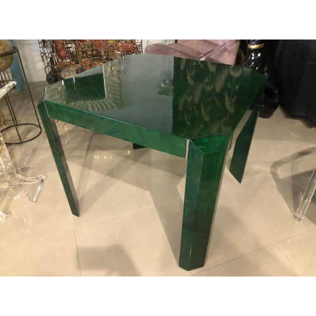 Vintage Hollywood Regency Green Faux Malachite Chrome Dining Game Table For Sale - Image 9 of 11