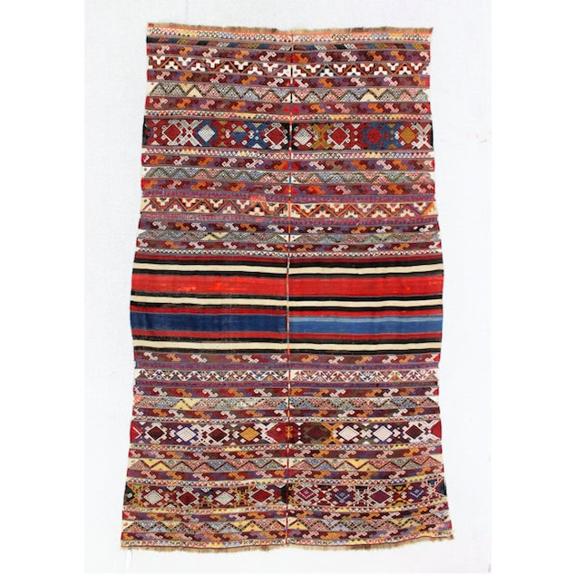 Boho Chic 19th Century Antique Turkish Kilim Rug- 4′4″ × 7′8″ For Sale - Image 3 of 6