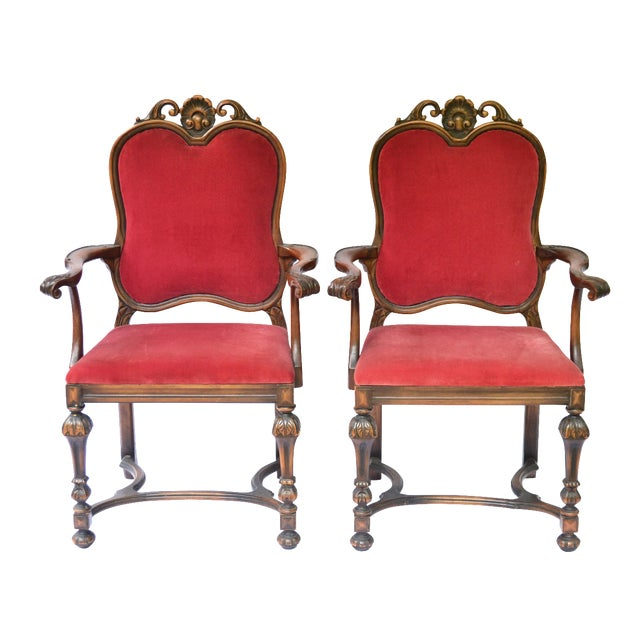 Bohemian Red Velvet Dining/Accent Chairs - A Pair - Image 1 of 7