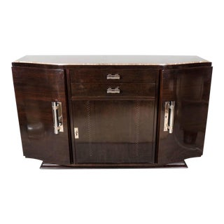 Art Deco Book-Matched Rosewood and Emperador Marble-Top Sideboard For Sale