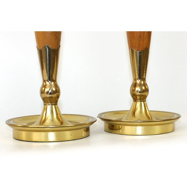 Mid-Century Modern Teak & Brass Lamps - A Pair For Sale - Image 5 of 10