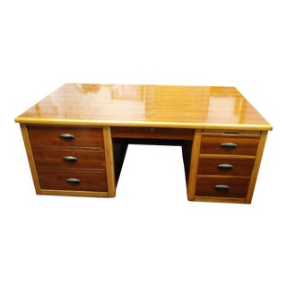 1950s Mid-Century Modern Double Pedestal Solid Wood Tanker Desk For Sale