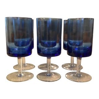 Modernist Blue Wine Glasses - Set of 6 For Sale