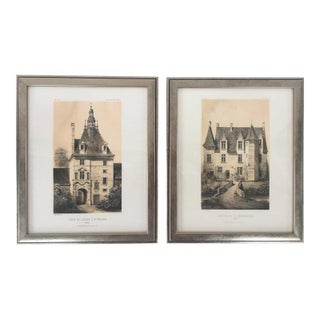 Framed French Architectural Prints - A Pair For Sale