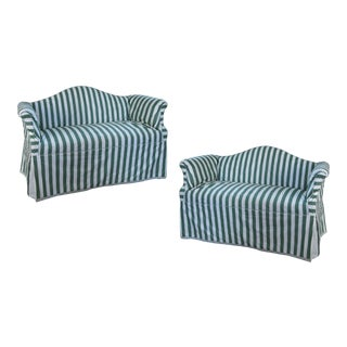 Pair of Petite Camelback Settees With Slipcovers in Green & White For Sale