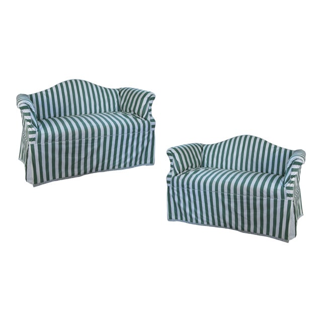 Petite Camelback Settees With Slipcovers in Green & White - a Pair For Sale