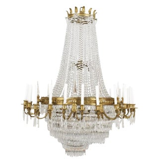 Large 20th Century Louis XVI Style 24-Light Crystal Chandelier For Sale