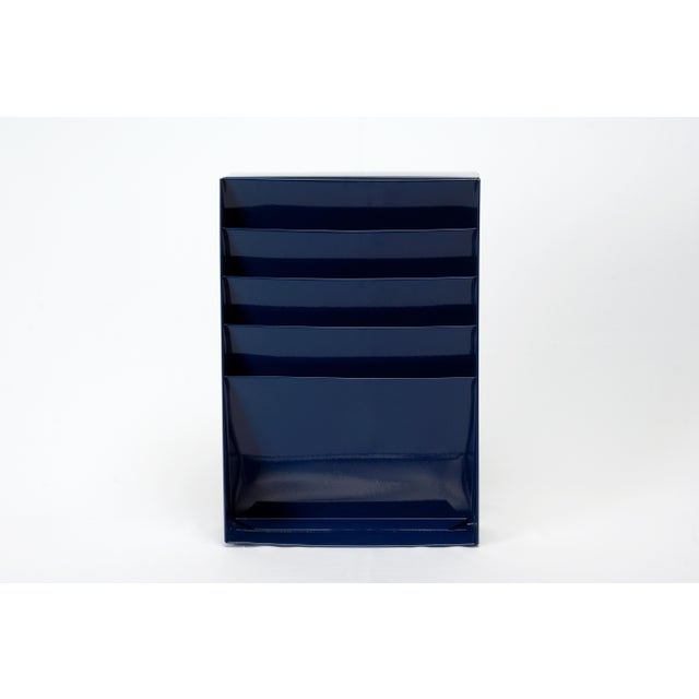 Cole Steel 1960s Retro Steel File Holder/ Magazine Rack/ Mail Organizer, Refinished in Midnight Blue For Sale - Image 4 of 6