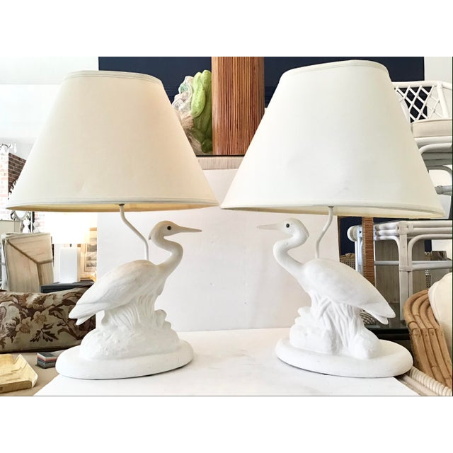 White Vintage Coastal White Reverse Birds Lamps With Shades-Pair For Sale - Image 8 of 8