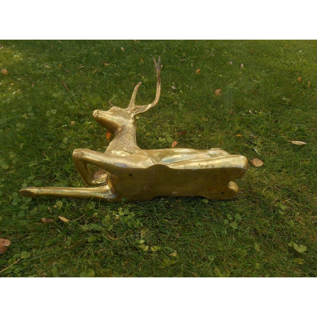 Mid-Century Stag Deer Brass Statue - Image 6 of 8