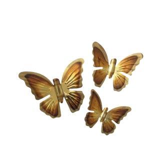 Brass Wall Hanging Butterflies - Set of 3 -1970's