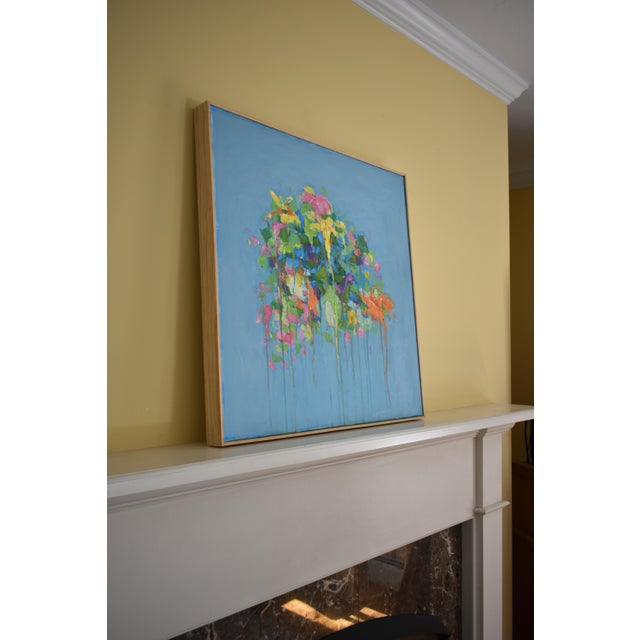 """Stephen Remick """"Bouquet ~ Out of Many, One"""" (Blue Ground) Contemporary Abstract Painting For Sale - Image 9 of 13"""
