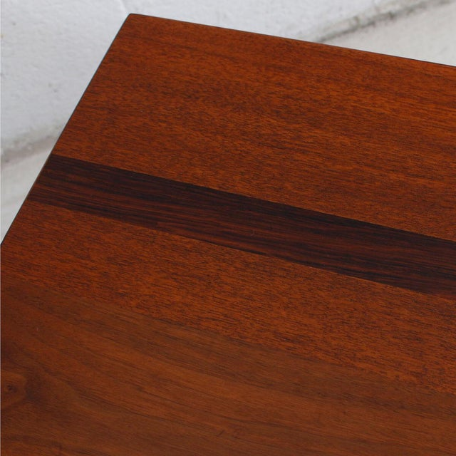 Mid-Century Teak Walnut & Rosewood Accent Table For Sale - Image 4 of 7