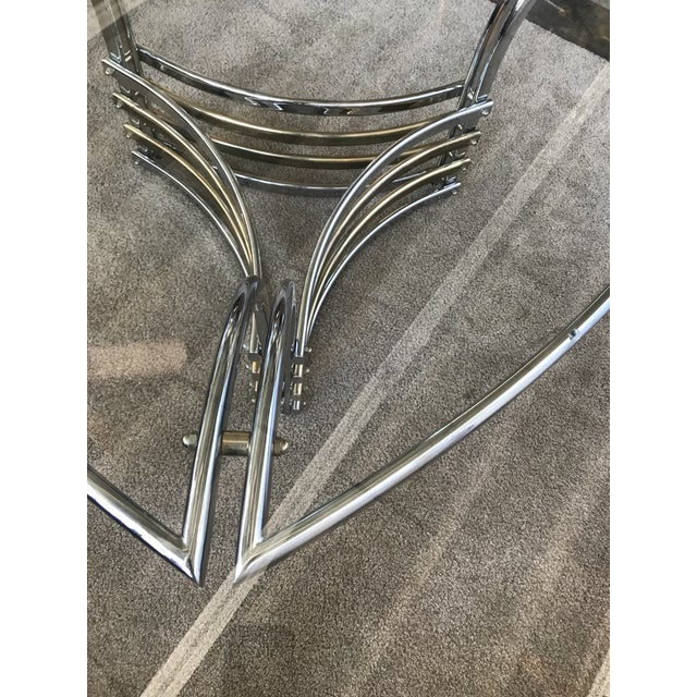 Amazing triangular-shaped chrome and brass bar dining table base with 6' round beveled glass top table.
