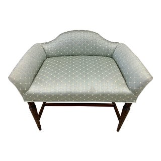 Vintage Silk Upholstered Vanity Bench Chair For Sale