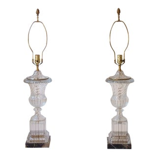 20th Century Neoclassical Baccarat Style Glass Lamps - a Pair For Sale