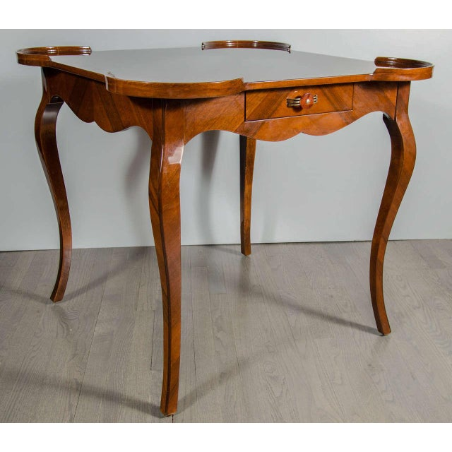 Walnut Exceptional Art Deco Game Table With Exotic Burled Walnut Inlay For Sale - Image 7 of 11