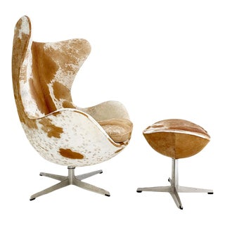 Egg Chair and Ottoman in Brazilian Cowhide For Sale