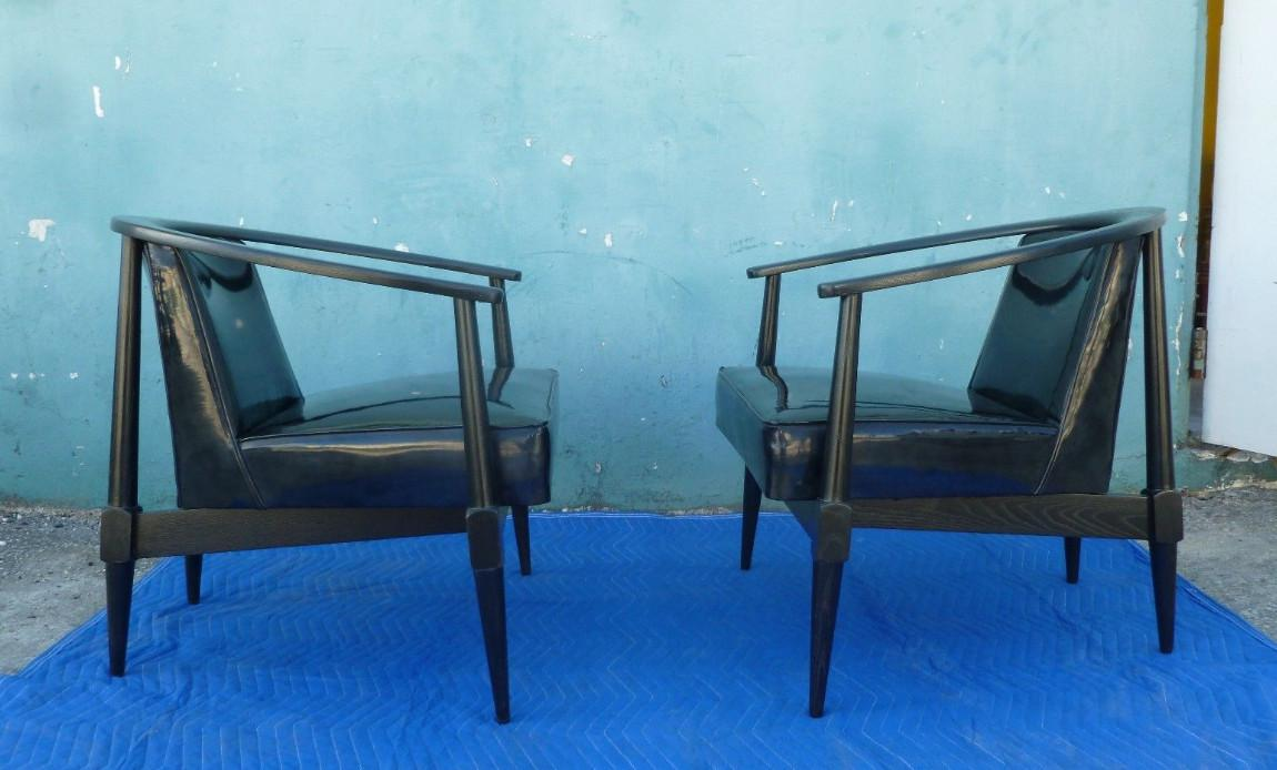 Mid Century Modern Danish Style Black Ceruse Sculptural Chairs For Sale In  Miami   Image 6