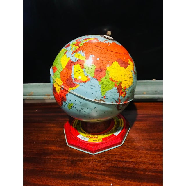 Vintage antique J Chein &Co 1940's tin steel world globe atlas with horoscope base is in Excellent used condition, has...