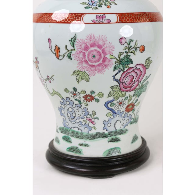 Mid 20th Century Vintage Famille Rose Temple Jar Depicting Indigo Rocks and Flower Blooms For Sale - Image 5 of 6