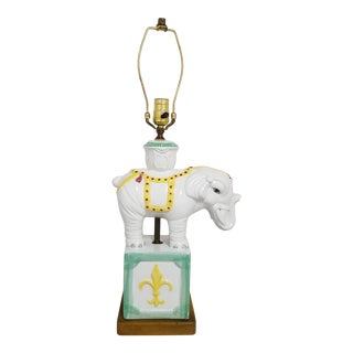 Mid 20th Century Hand Painted Ceramic Elephant Table Lamp For Sale