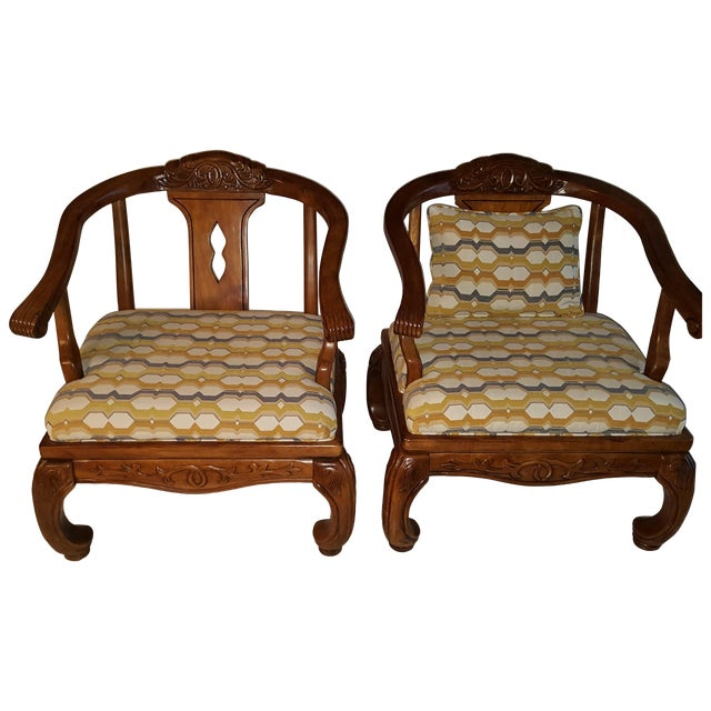 Thomasville Scroll Accent Chairs - Pair - Image 1 of 5
