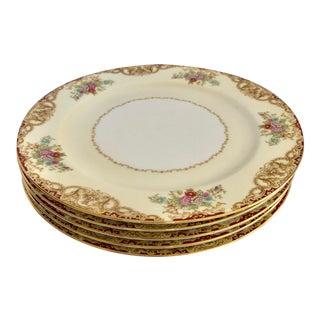 """Vintage Floral Noritake """"M""""Fine China Dinner Plates Set of 5 For Sale"""