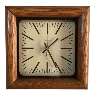 Vintage Mid Century Linden Square Wood Wall Clock For Sale