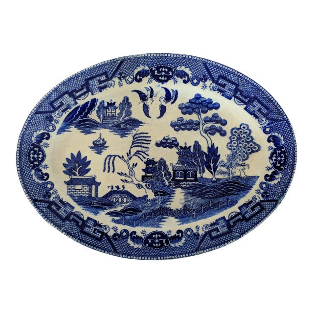 Vintage Blue Willow Pagoda Decorative Platter With Hanger For Sale