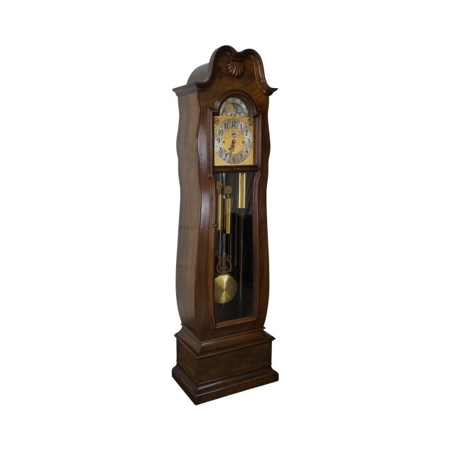 Herschede 9 Tube Mahogany Bombe Tall Case Grandfather Clock For Sale