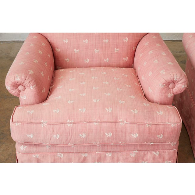 Pair of English Style Upholstered Club Chairs With Ottoman For Sale - Image 4 of 13