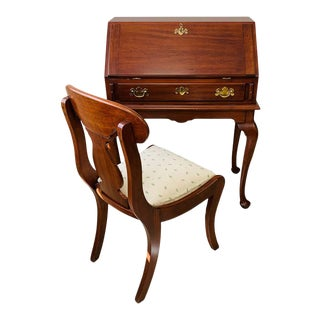 "Henkel Harris Solid Cherry ""Lady Astor"" Queen Anne Desk and Chair For Sale"