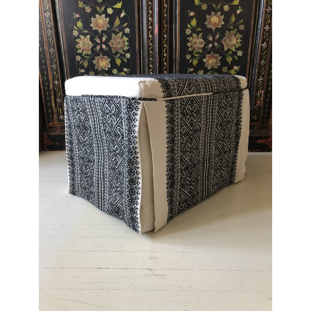 Slipcovered Ottoman in Embroidered F. Schumacher Fabric For Sale - Image 9 of 9