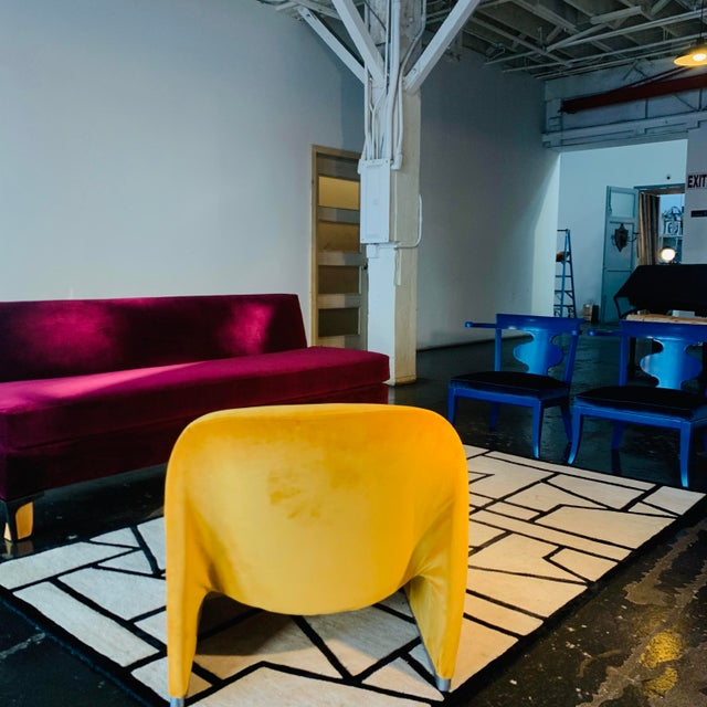 """1970s Giancarlo Piretti """"Alky"""" Chair in Goldenrod Velvet For Sale In Los Angeles - Image 6 of 12"""