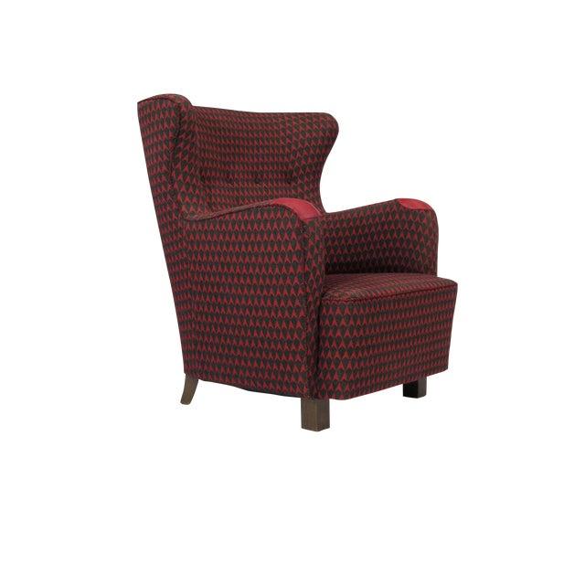 1937 A.J. Iversen for Kaj Gottlob Deco Lounge Chair Original Fabric For Sale