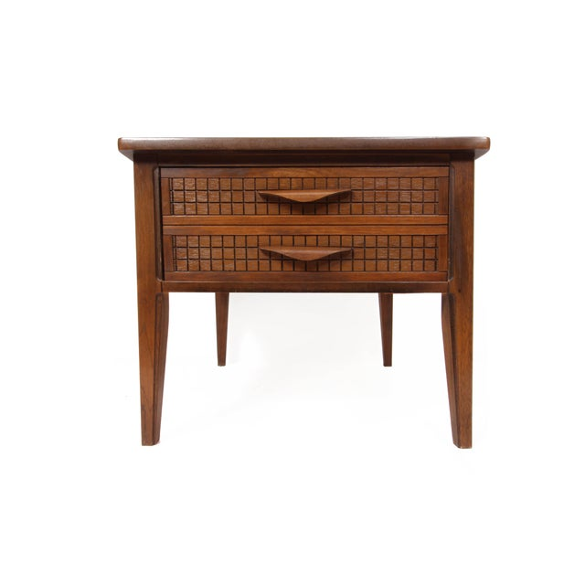 Mid Century walnut grain Side Table With 1 Built-In Drawer (looks like 2), decorative sculpted wooden handles. Faux...