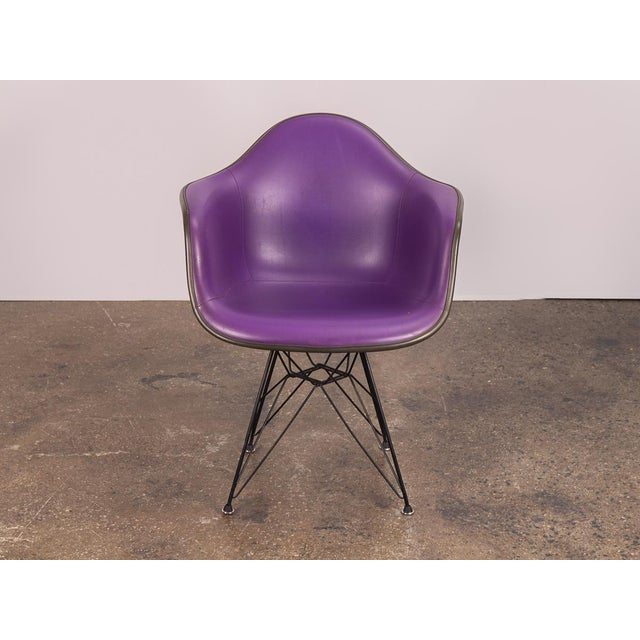 Purple Eames Padded Armshell Chair on Black Eiffel Base for Herman Miller For Sale - Image 9 of 9