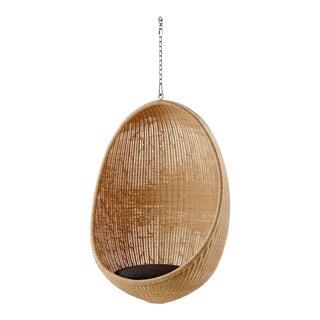 Nanna Ditzel Hanging Egg Chair - Natural - Sunbrella Sailcloth Shade Cushion with 5 Foot Chain For Sale