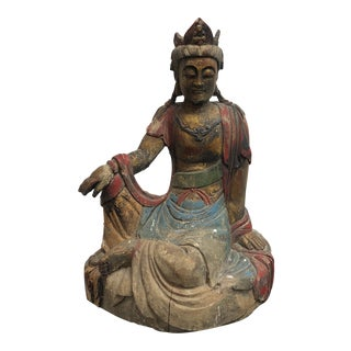 Hand Carved + Painted Wooden Buddha Statue For Sale